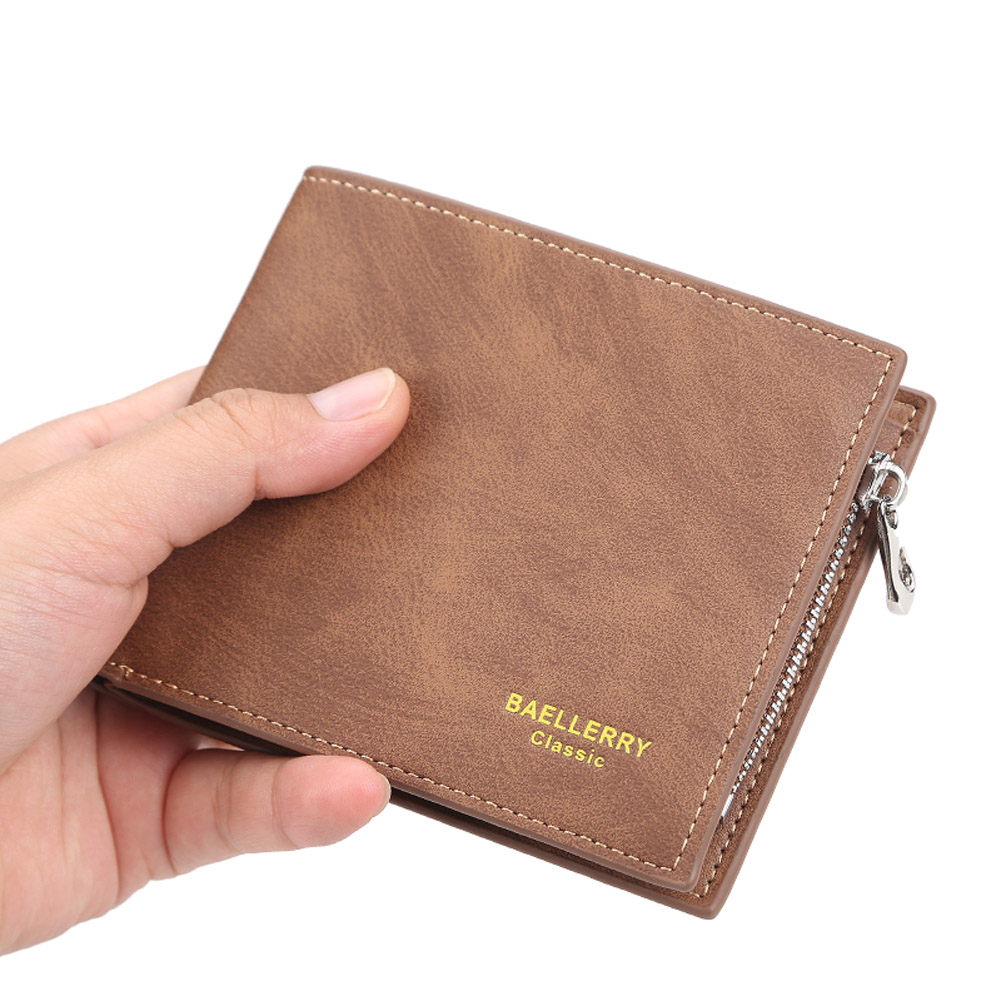 Men Short Wallet with Card Slots 2 Floding Leather Fashion Casual Wallet  Yellowish brown