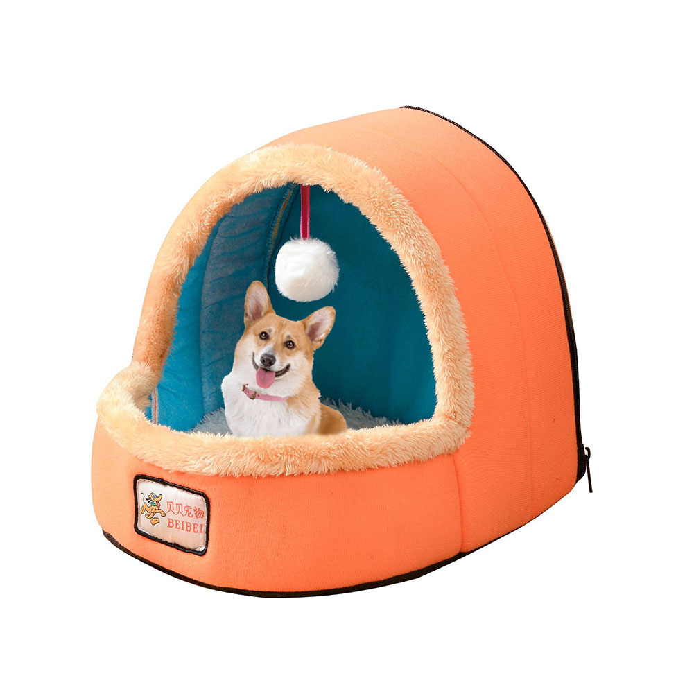 Mini Ger Shape Warm Pet Plush Nest Tent with Haning Ball for Cats Dogs Orange_M