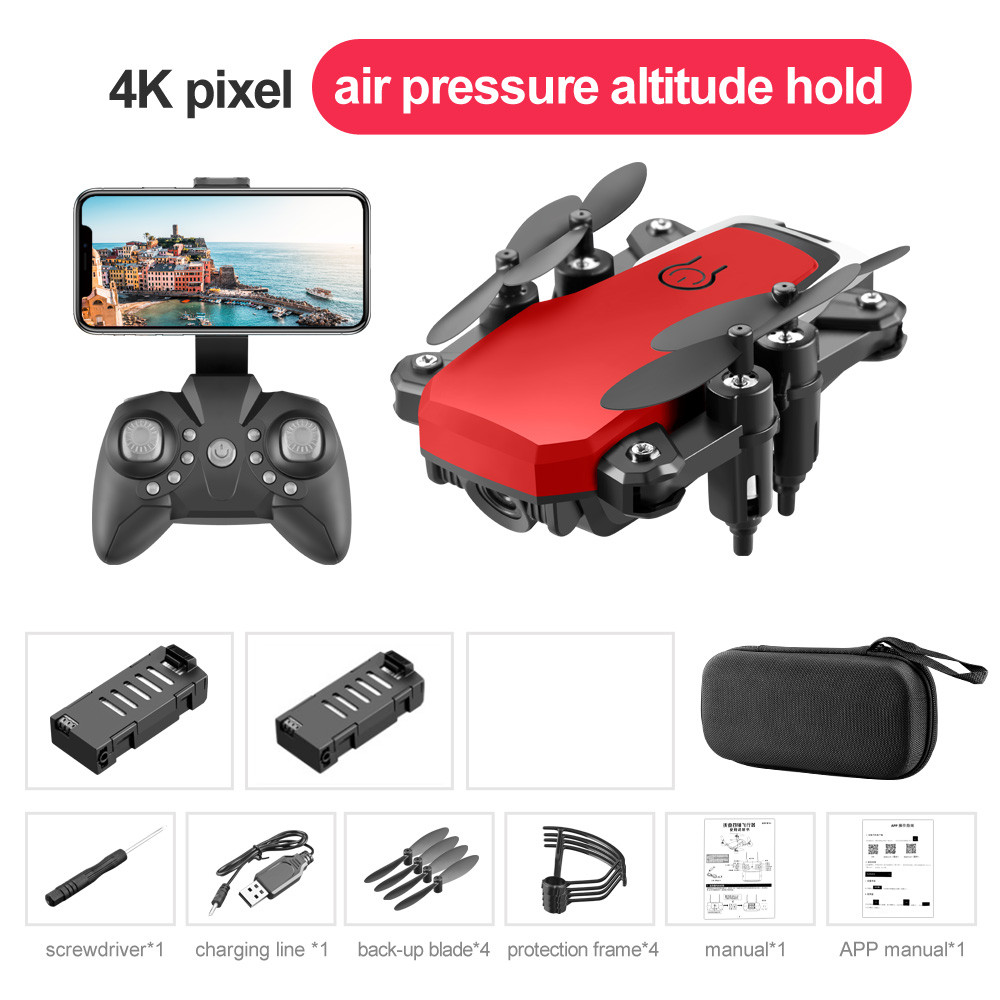 LF606 Wifi FPV Foldable RC Drone 4K HD Camera Altitude Hold 3D Flips Headless RC Helicopter Aircraft Airplane Red 2 battery