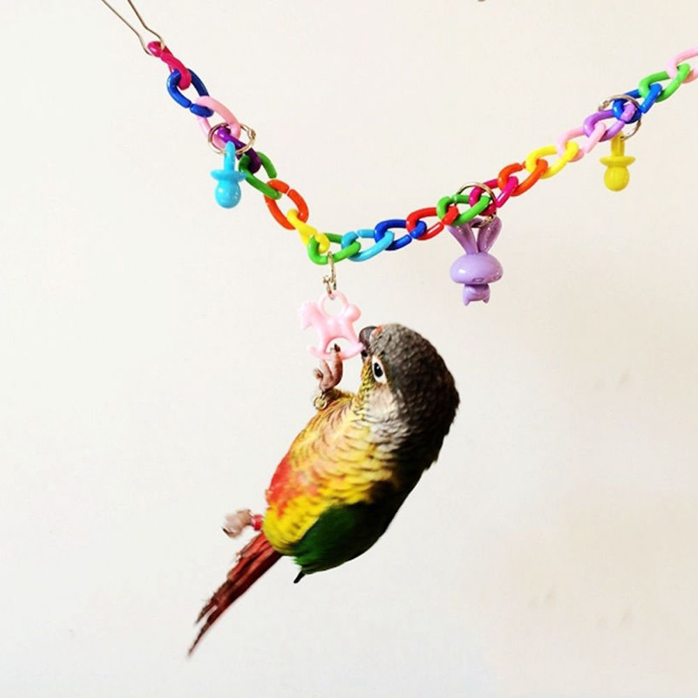 Colorful Bird Toy Parrot Swing Cage Toy Climbing Toy for Parakeet Cockatiel Budgie Lovebird 35cm As shown