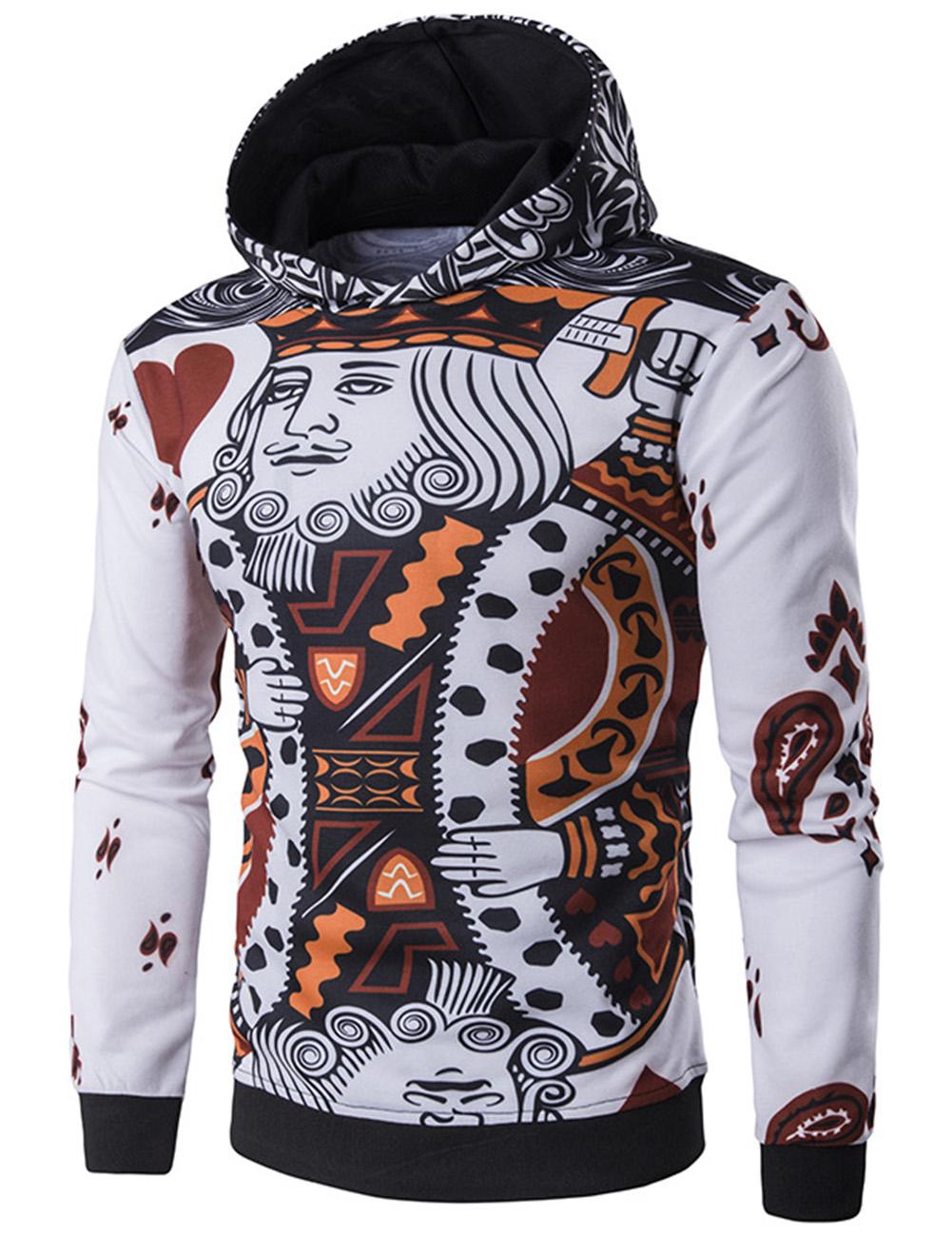 Men's Fashion 3D Playing Cards Poker Printing Pullover Hoodie Sweatshirts