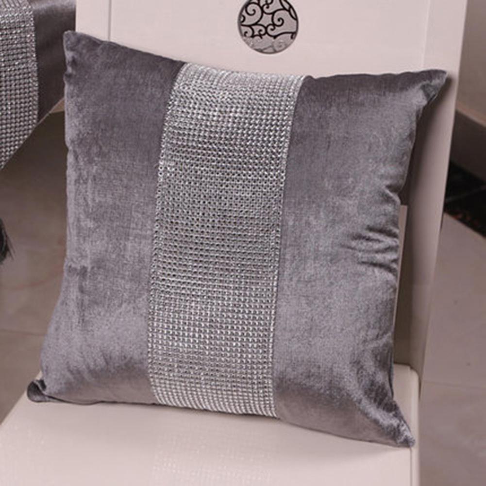 Stylish Graceful Velvet Throw Pillow with Diamond Chain Soft Sofa Cushion Decoration Modern Pillowcase gray_45 * 45cm