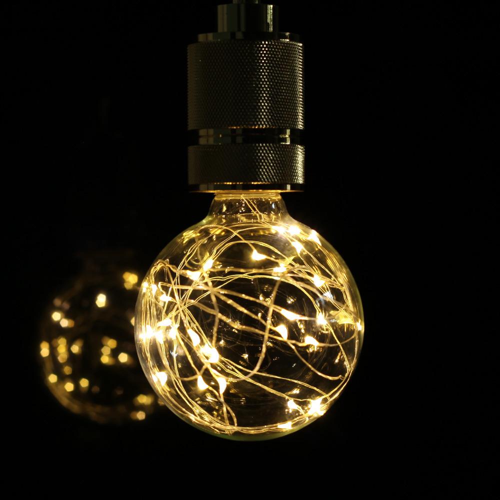 1PC Warm Light G95 Copper Wire Light Bulb Room Decoration E27 85-265V Warm light 2800K