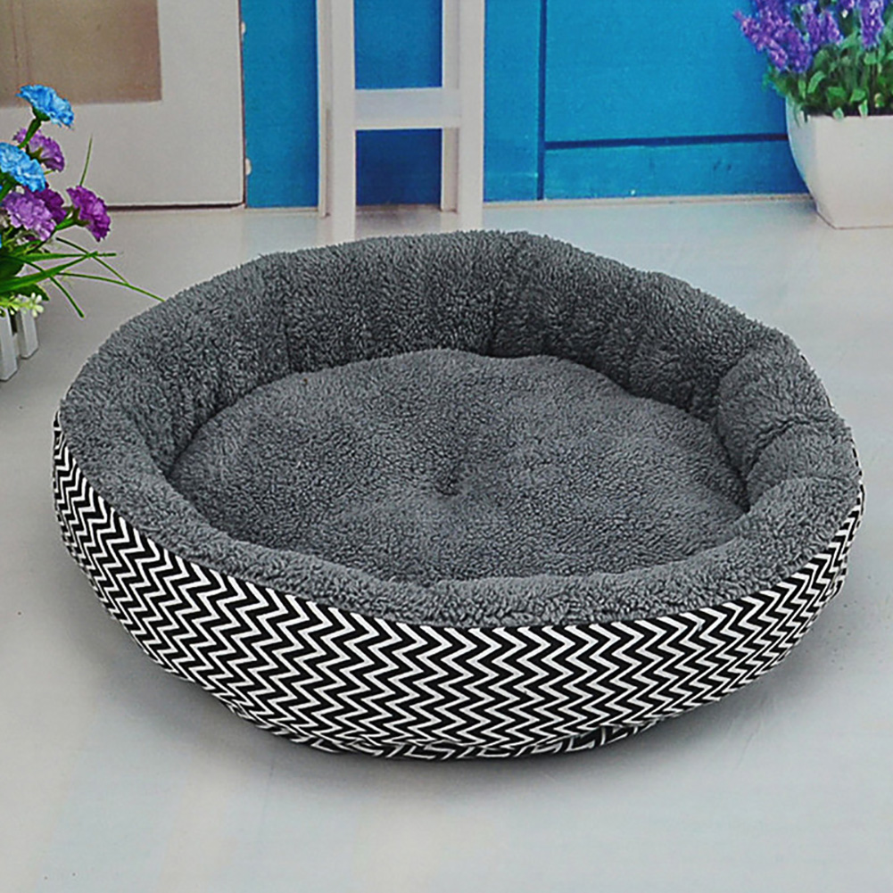 Soft Flannel Pet Dog Puppy Cat Kitten Pig Round Warm Bed Home House Cozy Nest Mat Pad with 3D PP Cotton Filling L