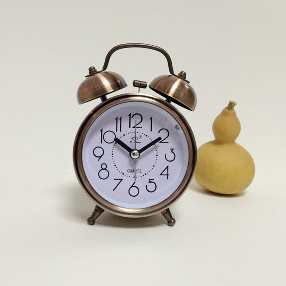 Classic Retro Vintage Silent Night LED Light Bell Alarm Clock Quartz Movement Home Lazy Bedside Desk Clock Great Christmas Gift for Students Antique-brass color