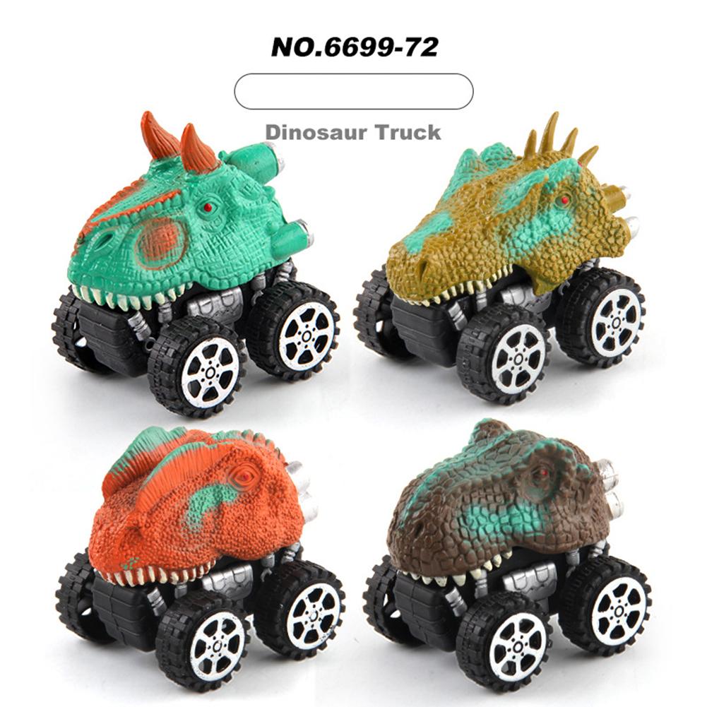 4 Pcs/bag Dinosaur  Pull  Back  Car  Toy Children Cartoon Off-road Competitive Car #1