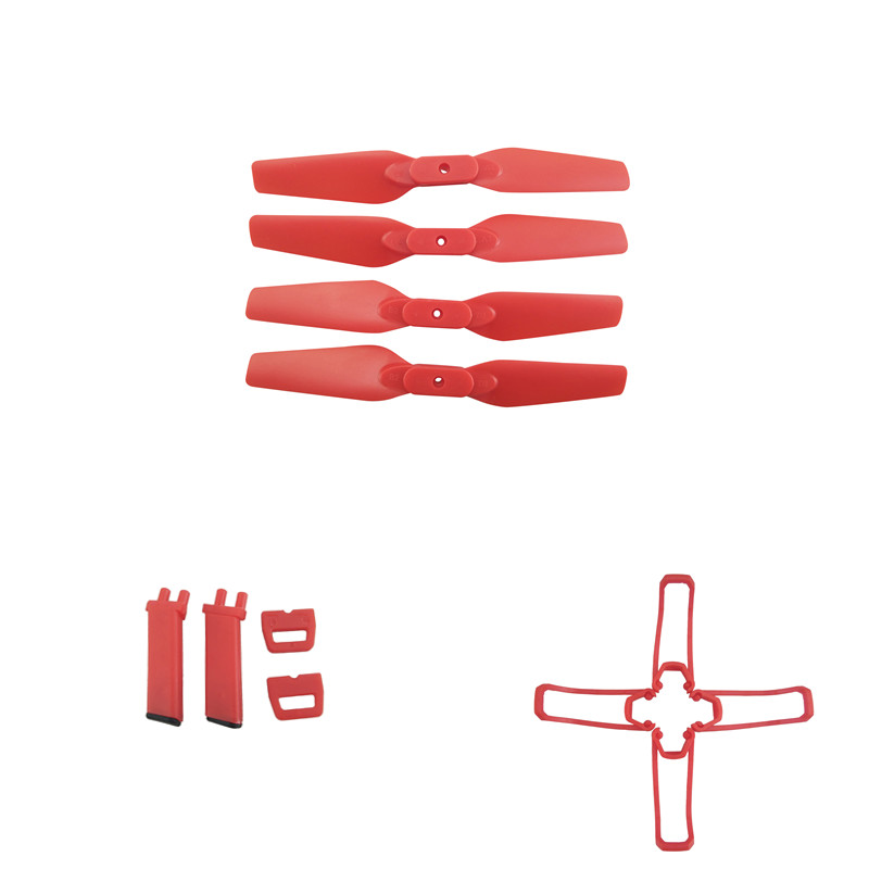 For Eachine E58 RC Quadcopter Spare Parts Propeller Blades Landing Gear Propeller Guard Protection Cover Set red