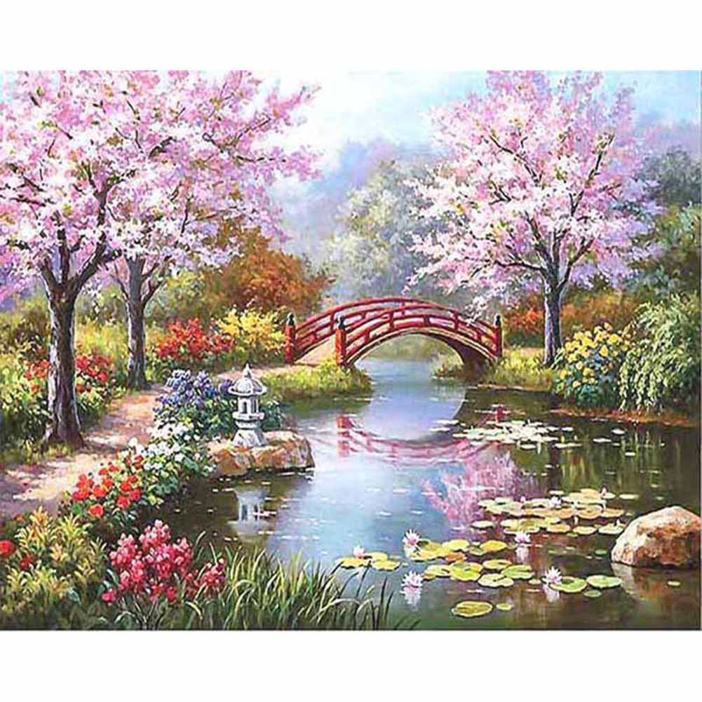 Graceful Sakura 40x50CM DIY Painting with Number Mark Painting Canvas Home Decor (without Frame) 40x50CM