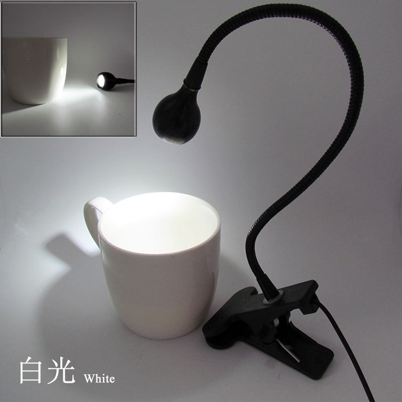5V 3W USB LED Clip Table Light with Flexible Goose Neck Cute Bed Lamp Decoration Eye Protection black shell  white light