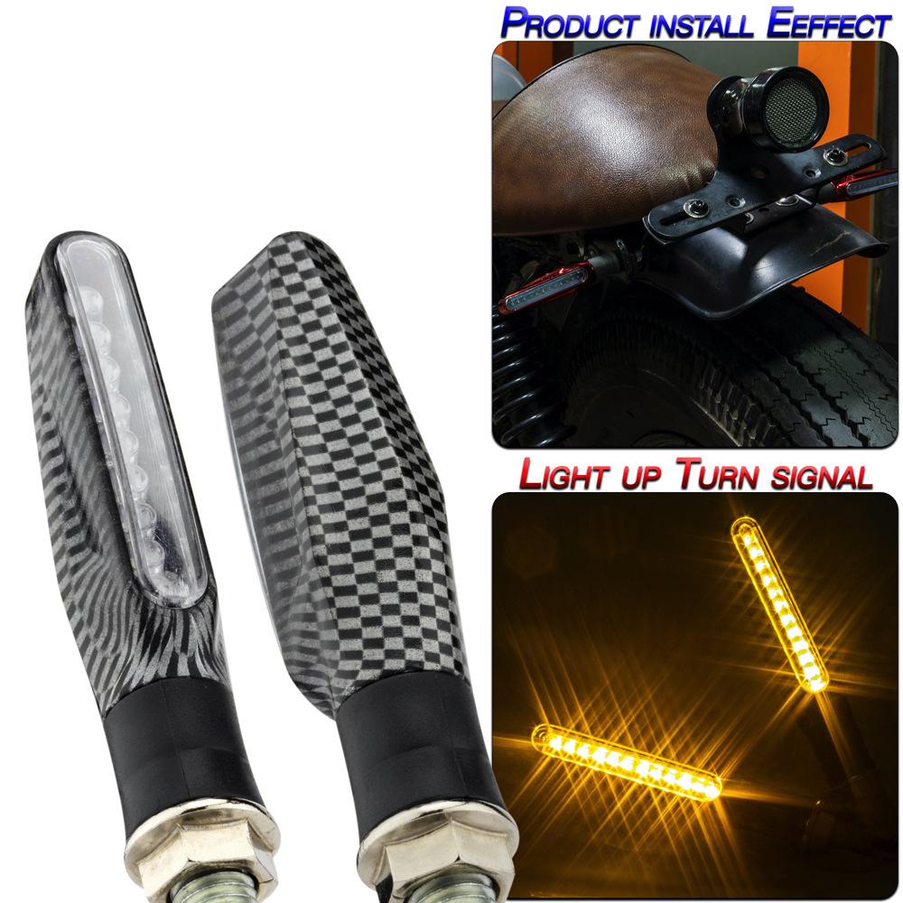 2pcs Turn Signals Motorcycle Accessories Modification Universal Flat 9 Led Turn Signal Lights Serpentine shell/yellow light