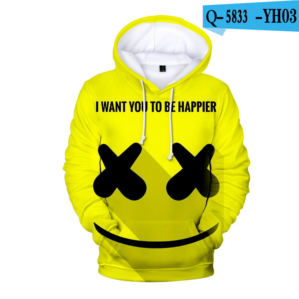Men Women DJ Marshmello 3D Print Small Happy Face Balloon Long Sleeve Sport Hoodies Sweatshirt D style_S