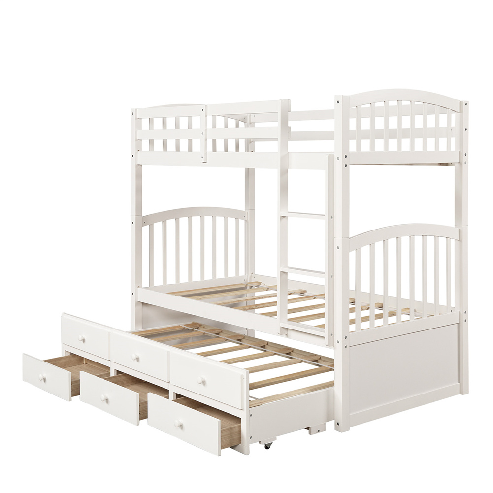 [US Direct] Twin Bunk  Bed With Ladder+ Safety Rail Twin Trundle Bed With 3 Drawers Bedroom Guest Room Furniture (white)