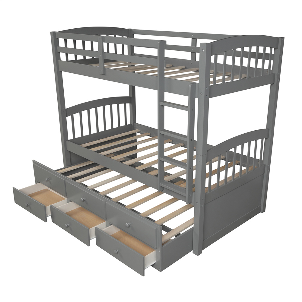 [US Direct] Twin Bunk  Bed With Ladder+ Safety Rail Twin Trundle Bed With 3 Drawers Bedroom Guest Room Furniture Gray