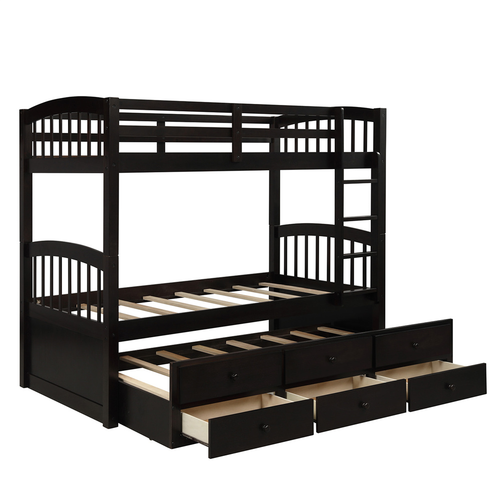 [US Direct] Twin Bunk  Bed With Ladder+ Safety Rail Twin Trundle Bed With 3 Drawers Bedroom Guest Room Furniture Brown