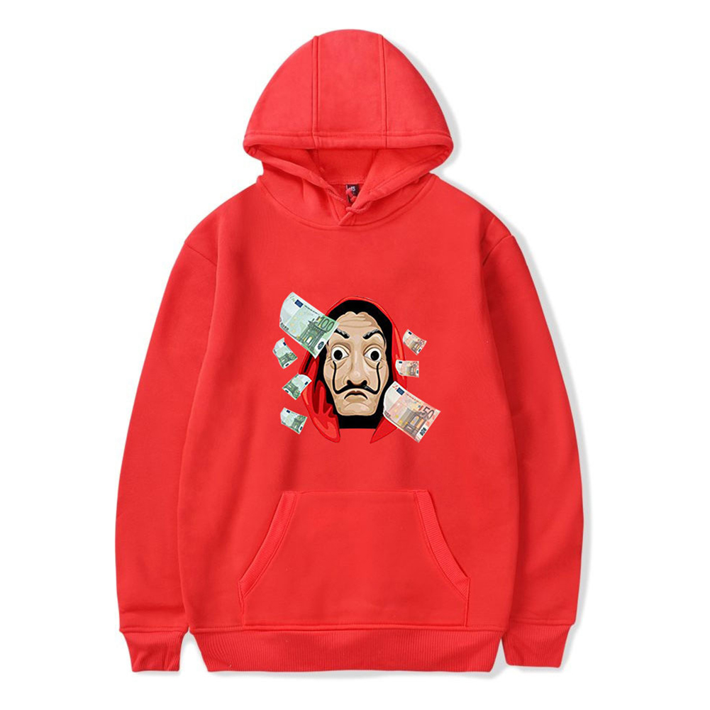 Long Sleeves Hoodie Loose Sweater Pullover with Unique Pattern Decor for Man and Woman Red D_XL