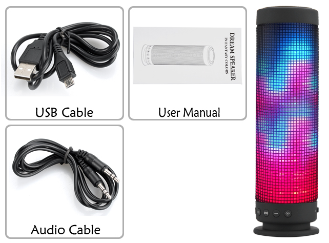 10 Watt Portable Bluetooth 4.0 Speaker - 360 Degree Sound, 88 LEDs, 5 Lighting Functions, Hands Free, Micro SD Slot, 2300mAh