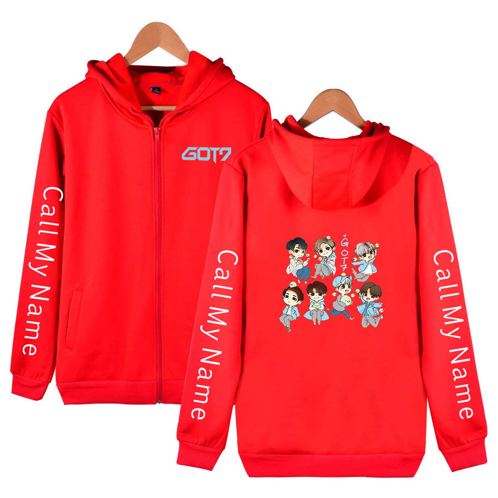 Zippered Casual Hoodie with Cartoon GOT7 Pattern Printed Leisure Top Cardigan for Man and Woman Red C_M