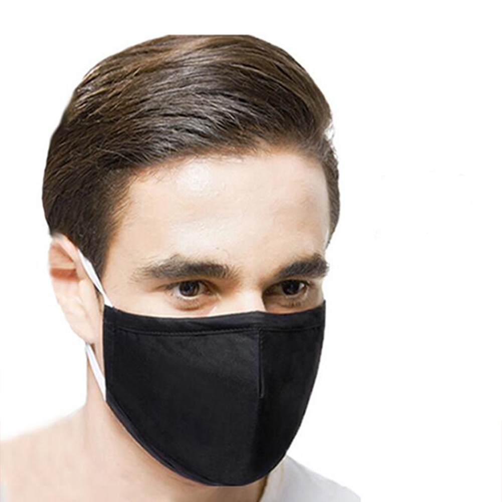 PM2.5 Filter Face Guard Dustproof Cotton with Breathing Valve Anti Dust Allergy pure black_One size