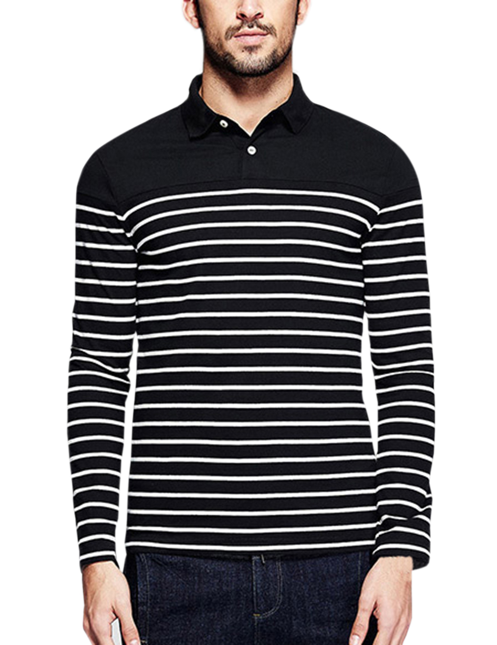[US Direct] Yong Horse Men's Casual Long Sleeve Striped Slim Fit Polo T Shirts Black_Black