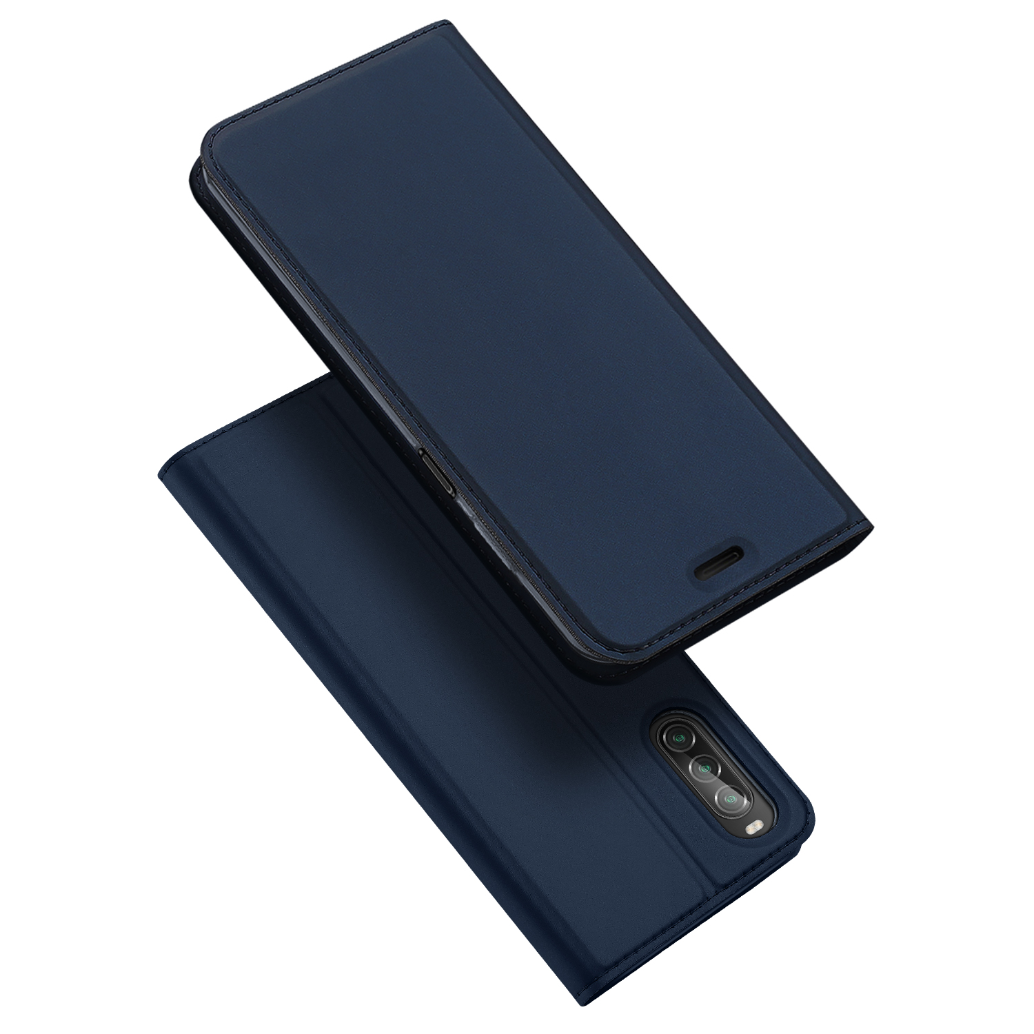 DUX DUCIS For Sony Xperia1 II/Xperia10 II Leather Mobile Phone Cover Magnetic Protective Case Bracket with Cards Slot Royal blue_Sony Xperia10 II