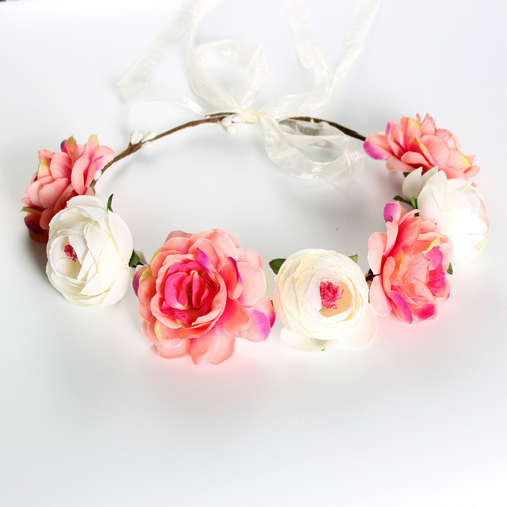 Simulate Flower Garland Headband Floral Head Wreath Wedding Party Headwear Photo Prop watermelon red