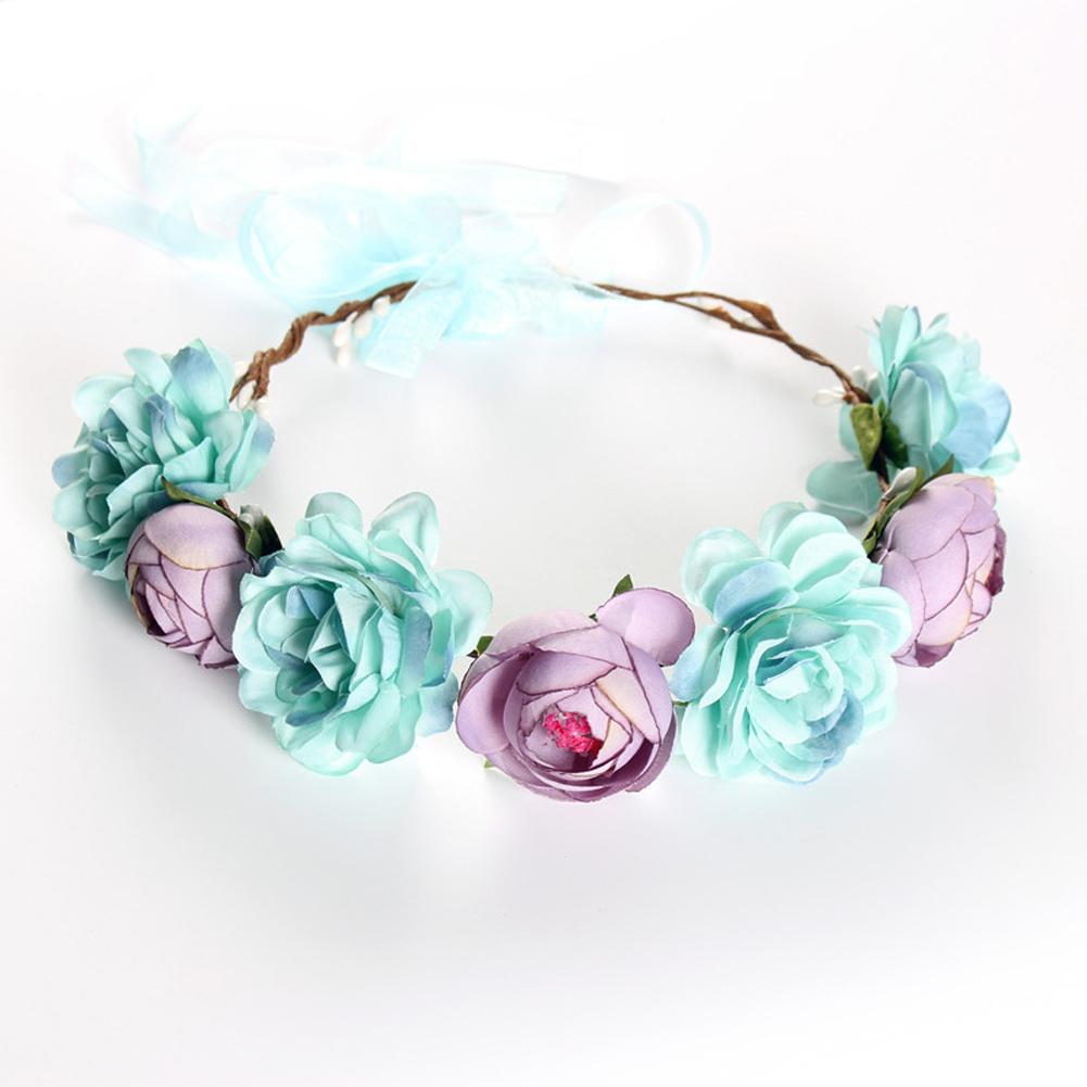 Simulate Flower Garland Headband Floral Head Wreath Wedding Party Headwear Photo Prop blue