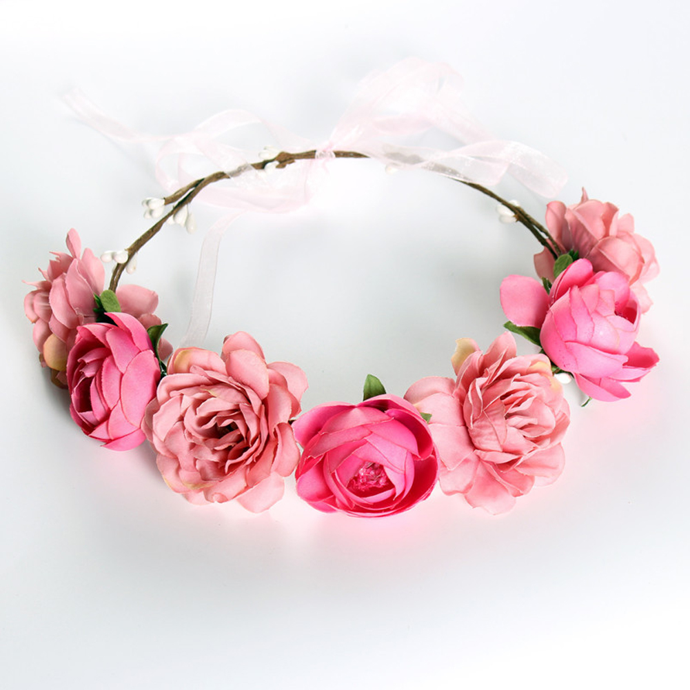 Simulate Flower Garland Headband Floral Head Wreath Wedding Party Headwear Photo Prop pink