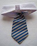 [EU Direct] Vedem New Small Dog Cat Pet Stripe Bow Tie Neck Tie White Collar Choose Color (Blue/Khaki)