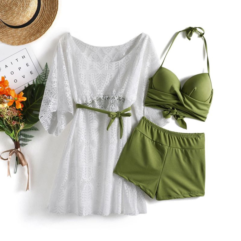 3pcs/set Swimsuit Split Suit Bikini Swimming Suit With Sunscreen Blouse Hot Spring Swimsuit Army Green_Int:M