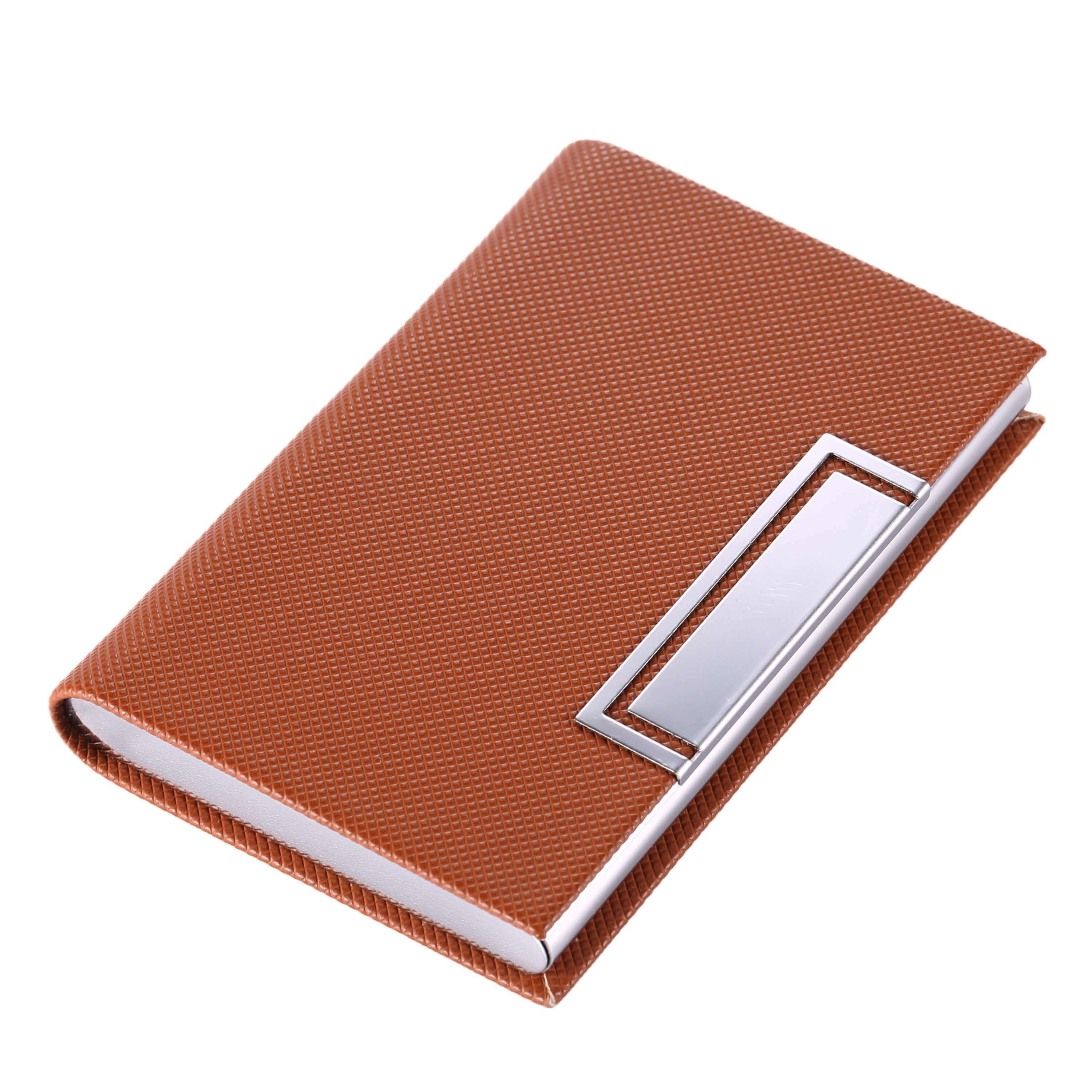 [US Direct] UBaymax Slim Professional Business Card Holder, Stainless Steel and PU Leather Business Card Case (Brown) Brown