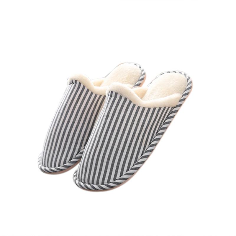 [EU Direct] Men Women's Soft Comfortable Cotton Non-slip Soles Strip Winter Outdoor Indoor Slippers Dark blue_40/41