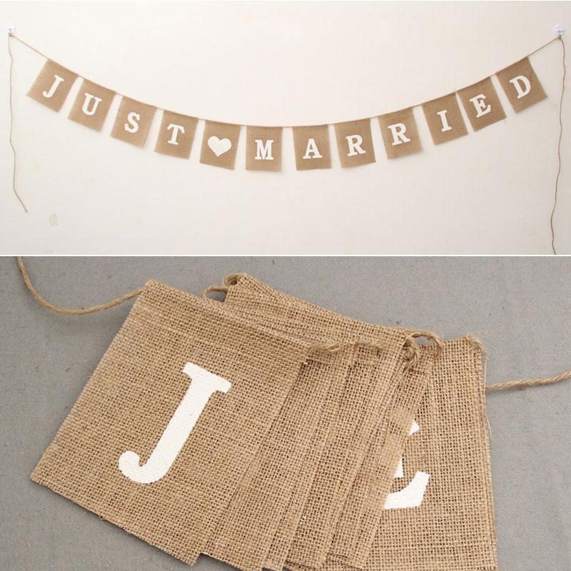 [EU Direct] 12pcs/set JUST MARRIDE Text Wedding Linen Flags Decorative Square Banners