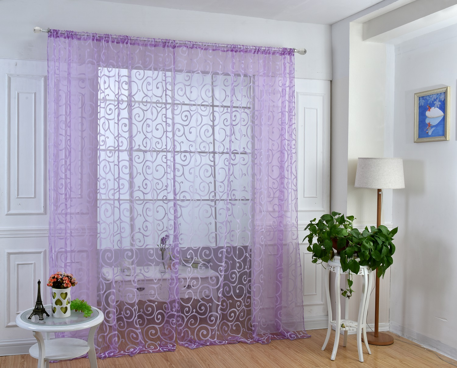 [EU Direct] 1 PCS Soft Purple Translucidus Window Curtain of Modern Style Home decoration choice