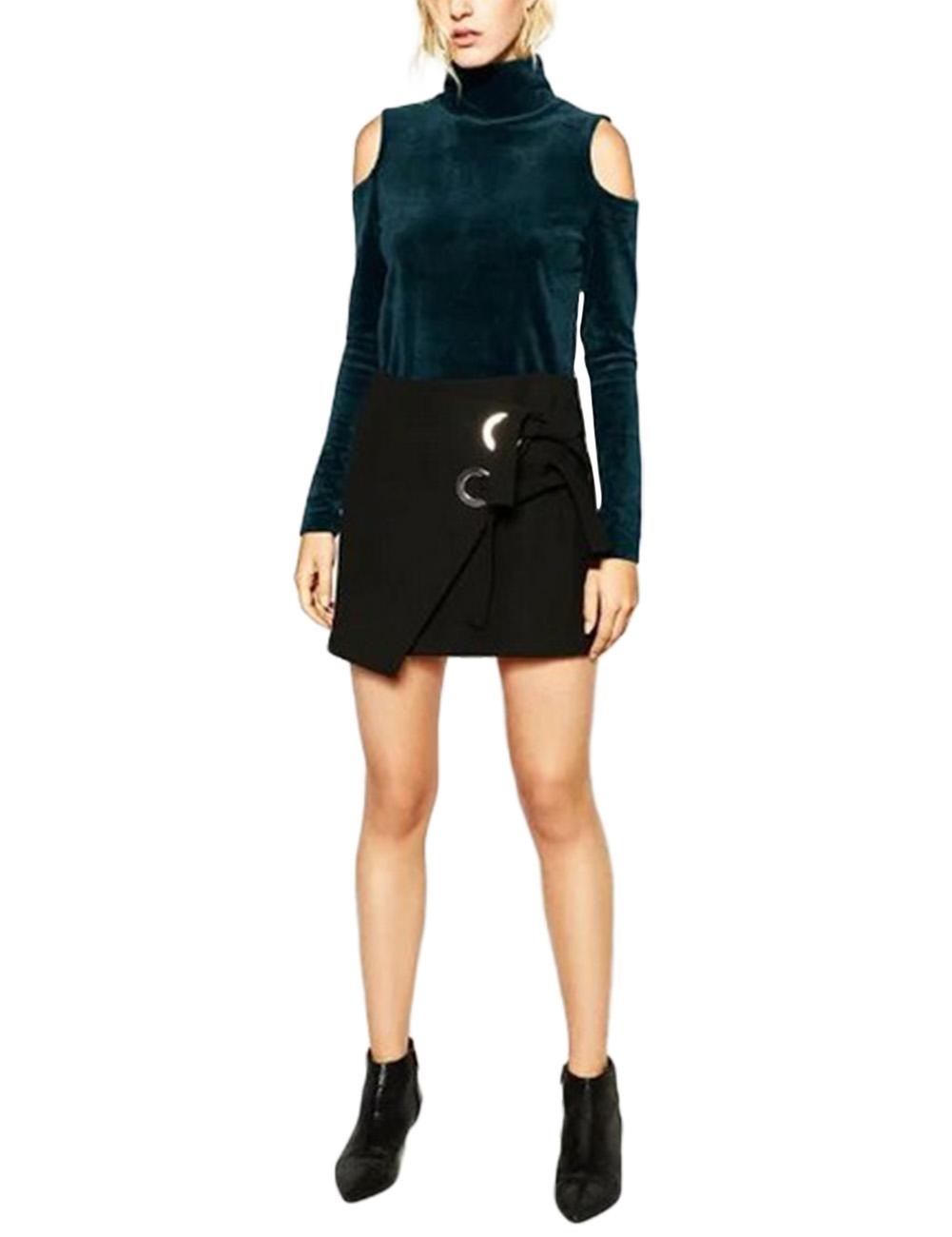 Leadingstar Women Turtleneck Pullover Open Shoulder Velvet Long Sleeve T-shirt Blue Peacock S