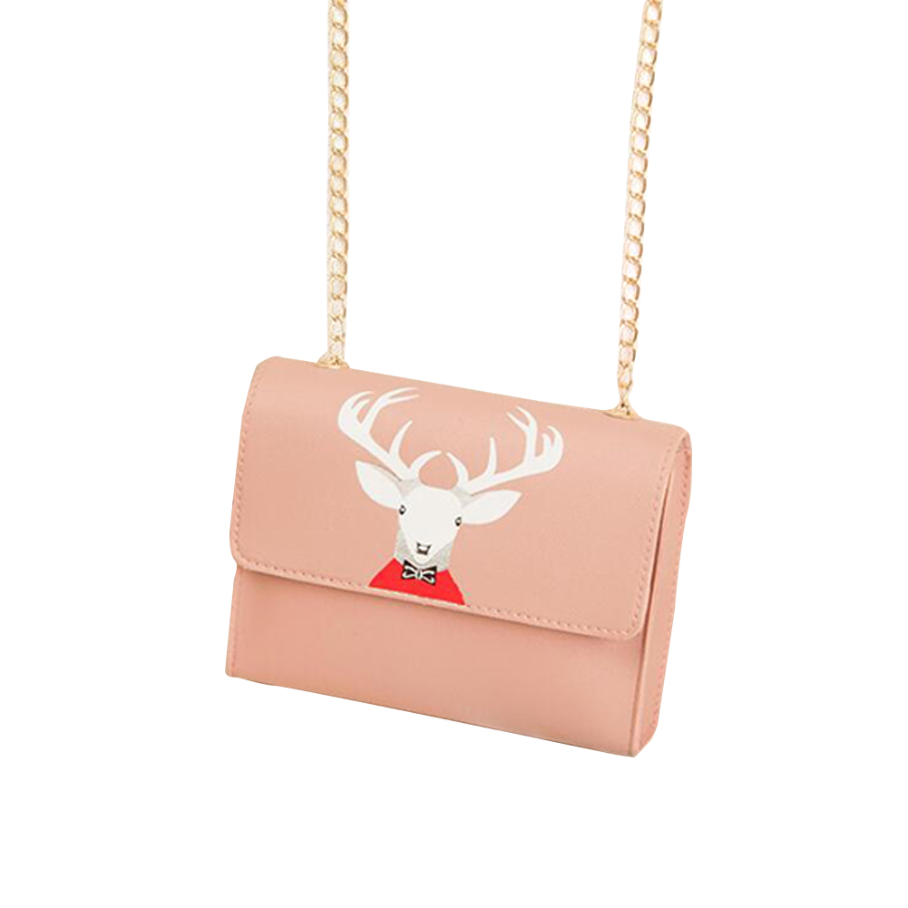 Women Mini Square Bag Satchel Cartoon Deer Head Cross-body PU Leather Cellphone Chain Bag Pink