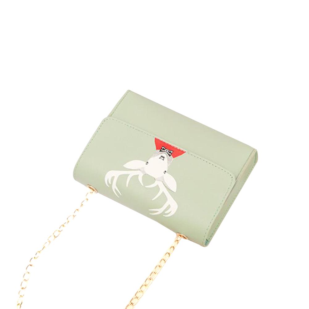 Women Mini Square Bag Satchel Cartoon Deer Head Cross-body PU Leather Cellphone Chain Bag green