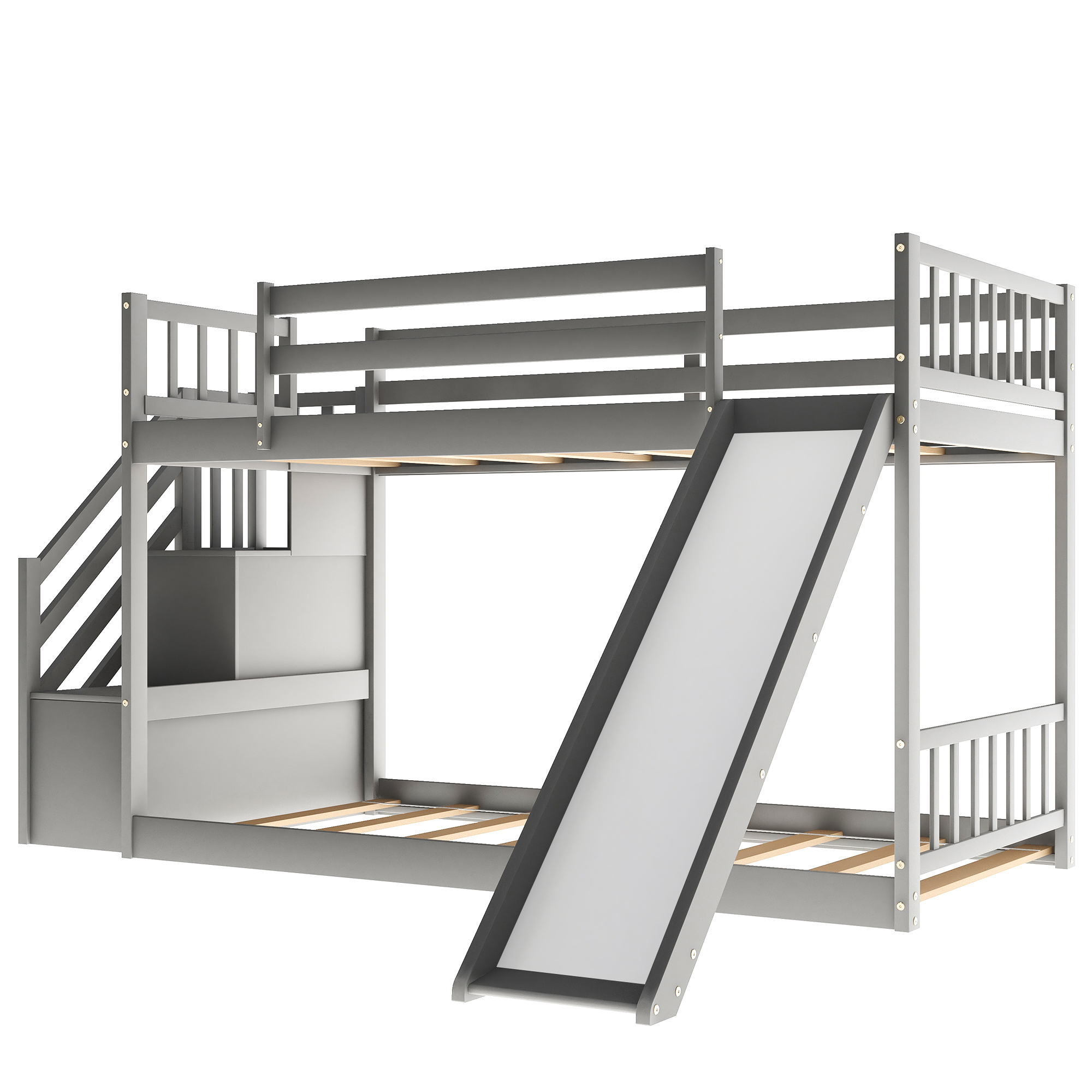 [US Direct] Double Bunk  Bed With Folding Slide Stairs Household Room Furniture Accessories grey
