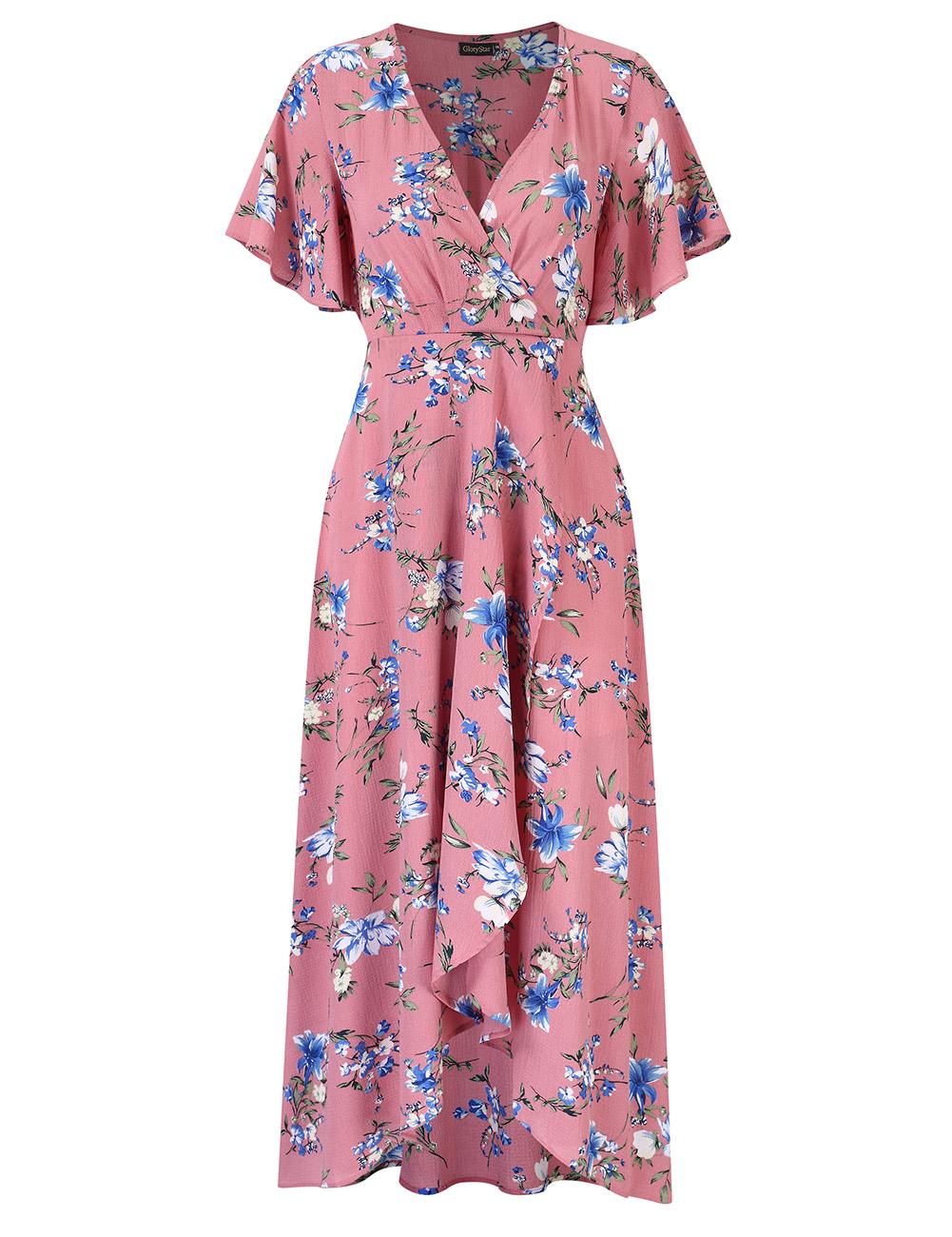 [US Direct] Women Chiffon Dress V-neck Floral Print Short Sleeve Middle Waist Split Maxi Dress