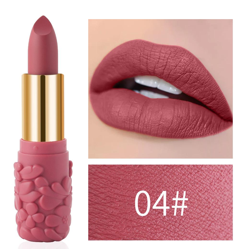 Women's Lipstick Waterproof Matte Moisturizing Lipstick Cosmetics 04#