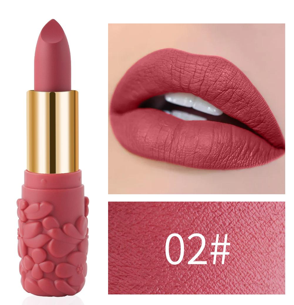 Women's Lipstick Waterproof Matte Moisturizing Lipstick Cosmetics 02#