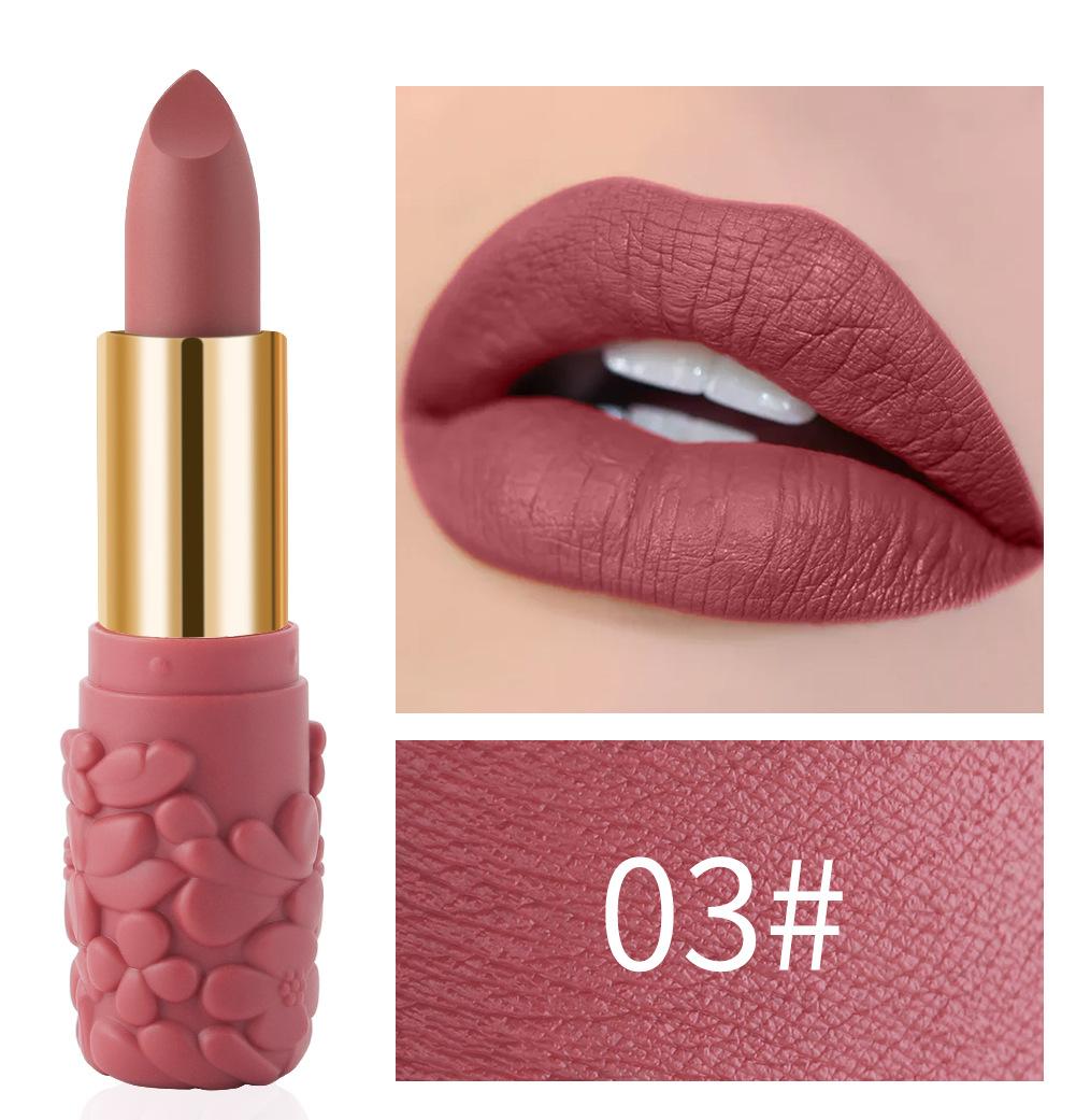 Women's Lipstick Waterproof Matte Moisturizing Lipstick Cosmetics 03#