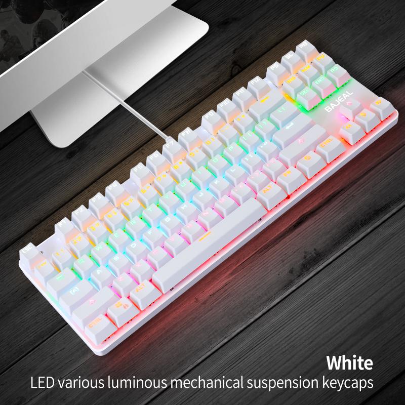 K100 Dual-color 87-key Usb Backlit Key Click Office Home Gaming Mechanical Keyboard White