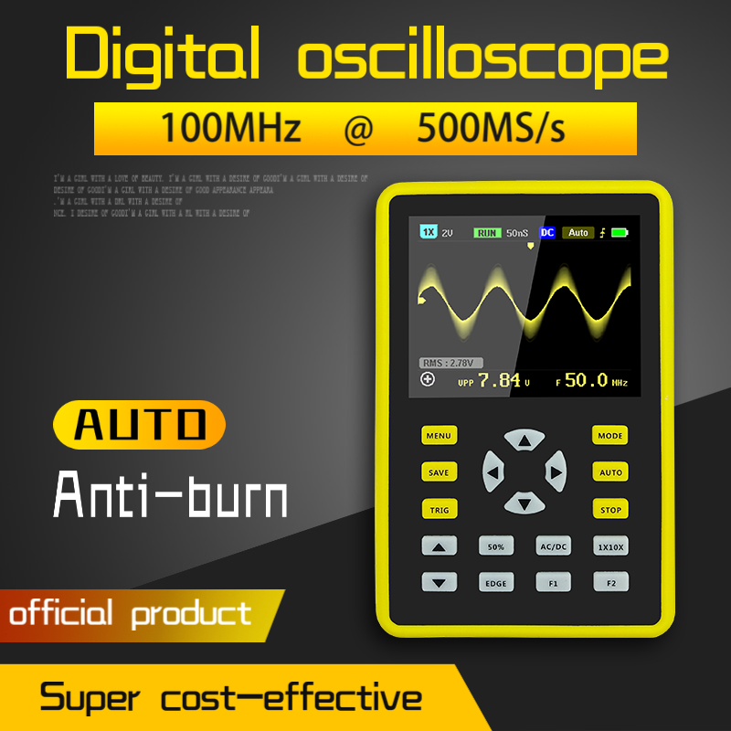 Digital Mini Oscilloscope with 100MHz Bandwidth and 500MS/s Sampling Rate with 5012H 2.4