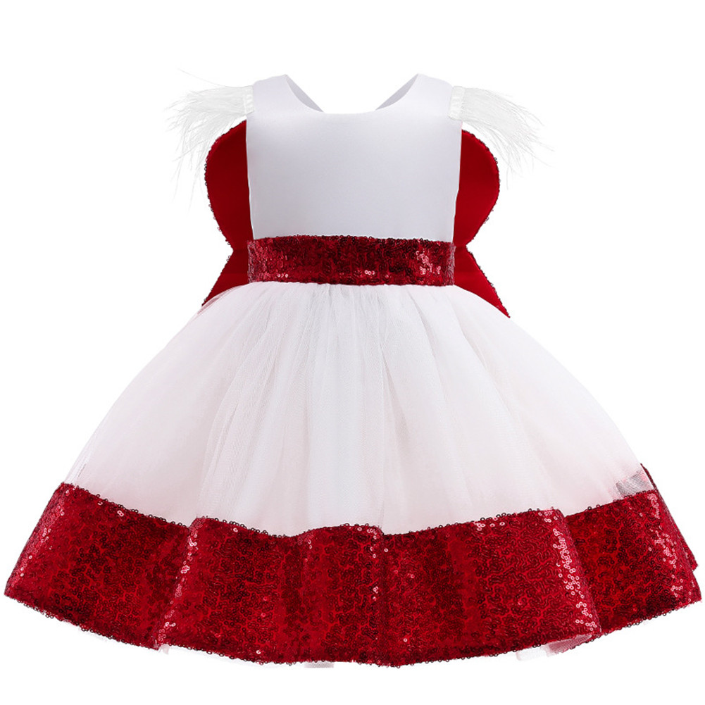 Girls Dress Christmas Sleeveless Bowknot Net Yarn Dress for 3-6 Years Old Kids red_110cm