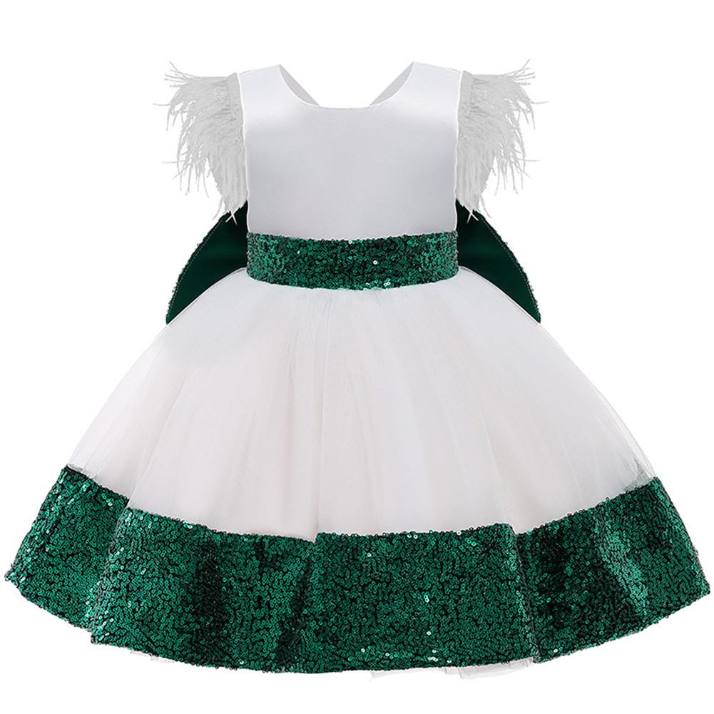 Girls Dress Christmas Sleeveless Bowknot Net Yarn Dress for 3-6 Years Old Kids Dark green_100cm