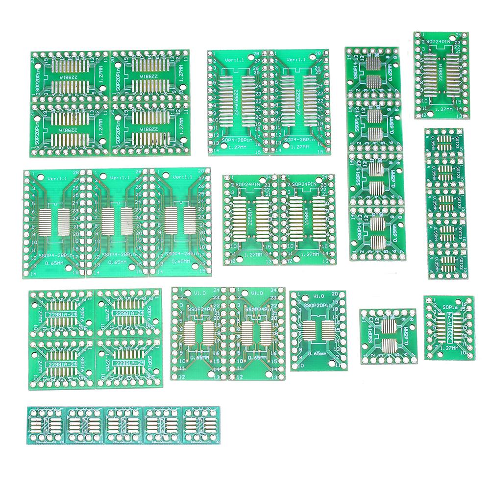 7value*5pcs PCB Board Kit SMD Turn To DIP SOP MSOP SSOP TSSOP SOT23 8 10 14 16 20 24 28 SMT To DIP green