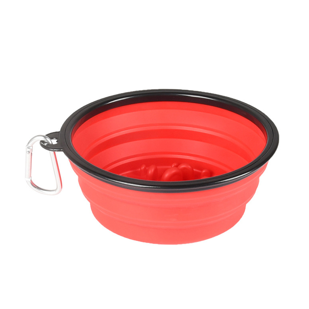Folding Food Drinking Bowls Portable Outdoor Travel Pet Dog Bowl Pet Slow Eating Bowl