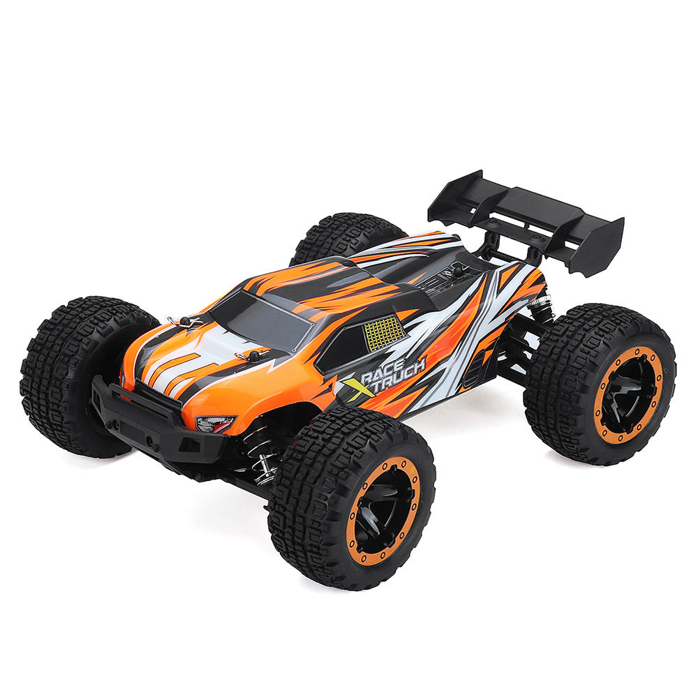 SG1602 1/16 2.4G 30KM/H Brush Simulation Large Caster Leather Grip RC Car Big Foot High Speed Vehicle Models with LED lights Orange