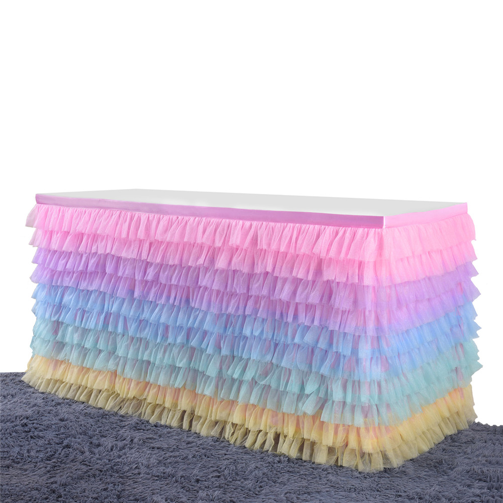 Colorful Mutilayer Tulle Chiffon Table Skirt for Party Wedding Birthday Party Decoration Rectangle / Round Tables  color_9FT*30IN