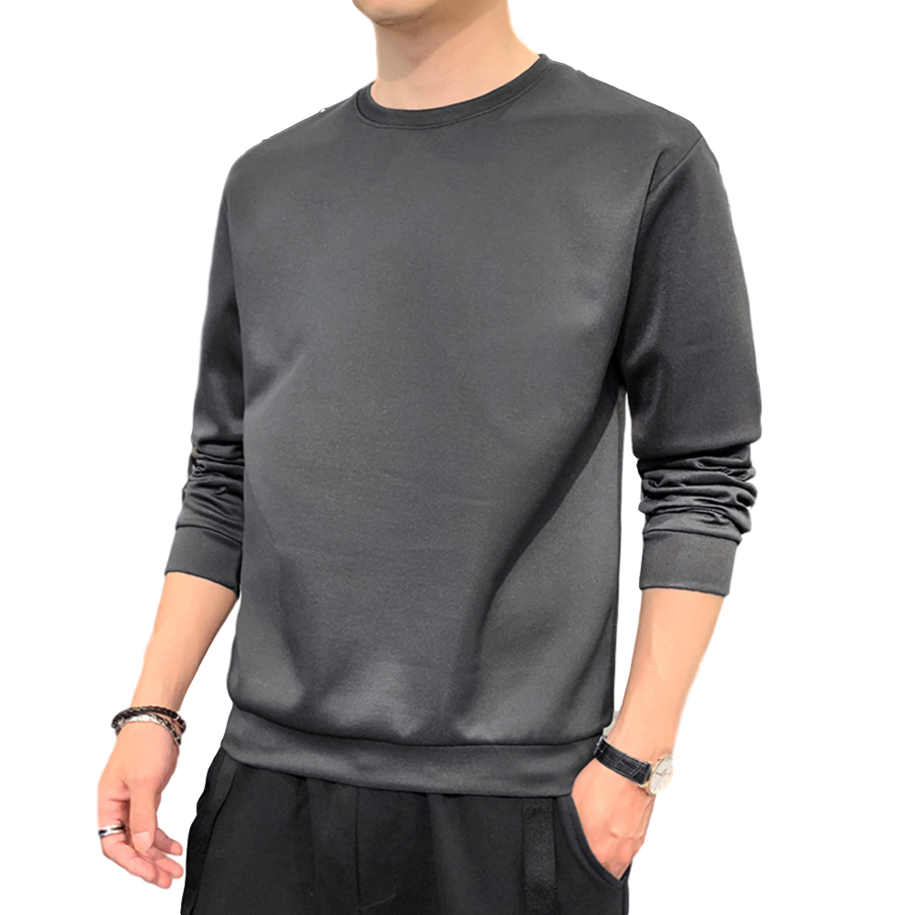 Men's Sweatshirt Round Neck Long-sleeved Solid Color Bottoming Shirt Carbon_XL